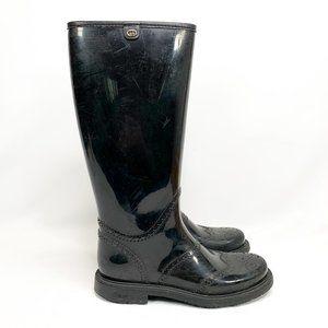 GUCCI Brogue Style Wellington Rain Boots Black